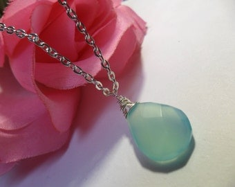 Ready to ship- Lovely Faceted Teardrop AA Aqua Chalcedony Gemstone silver Necklace