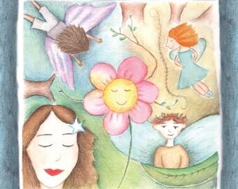 fairies and a dancing flower  - fantasy painting - a print on canvas פיות - הדפסה על קנבס - 30/30 - מוכן לתליה על הקיר