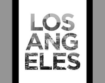 Digital Download Los Angeles, California - Skyline Cityscape 8x10 or 11x14