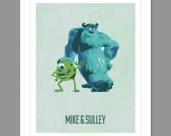 Digital Download Monsters Inc. Poster Art Nursery Art Print, Walt Disney Monster's Inc. Nursery Art Boys Room - 8x10 or 11x14