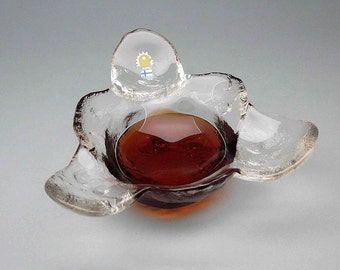 Pertti Santalahti glass bowl / serving dish from Kivi set by Humppila of Finland