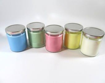 colorful soy wax jar candles, soy candles, soy jar candles, soy container candles, jar candles
