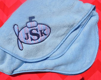 Appliqued Submarine Baby Blanket with Monogram