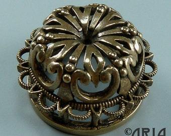DAMASK SLIDER: Damask Antique Silicon Bronze Small Medallion Connector Slider Pendant, 11x20.9mm  (DMSL01)