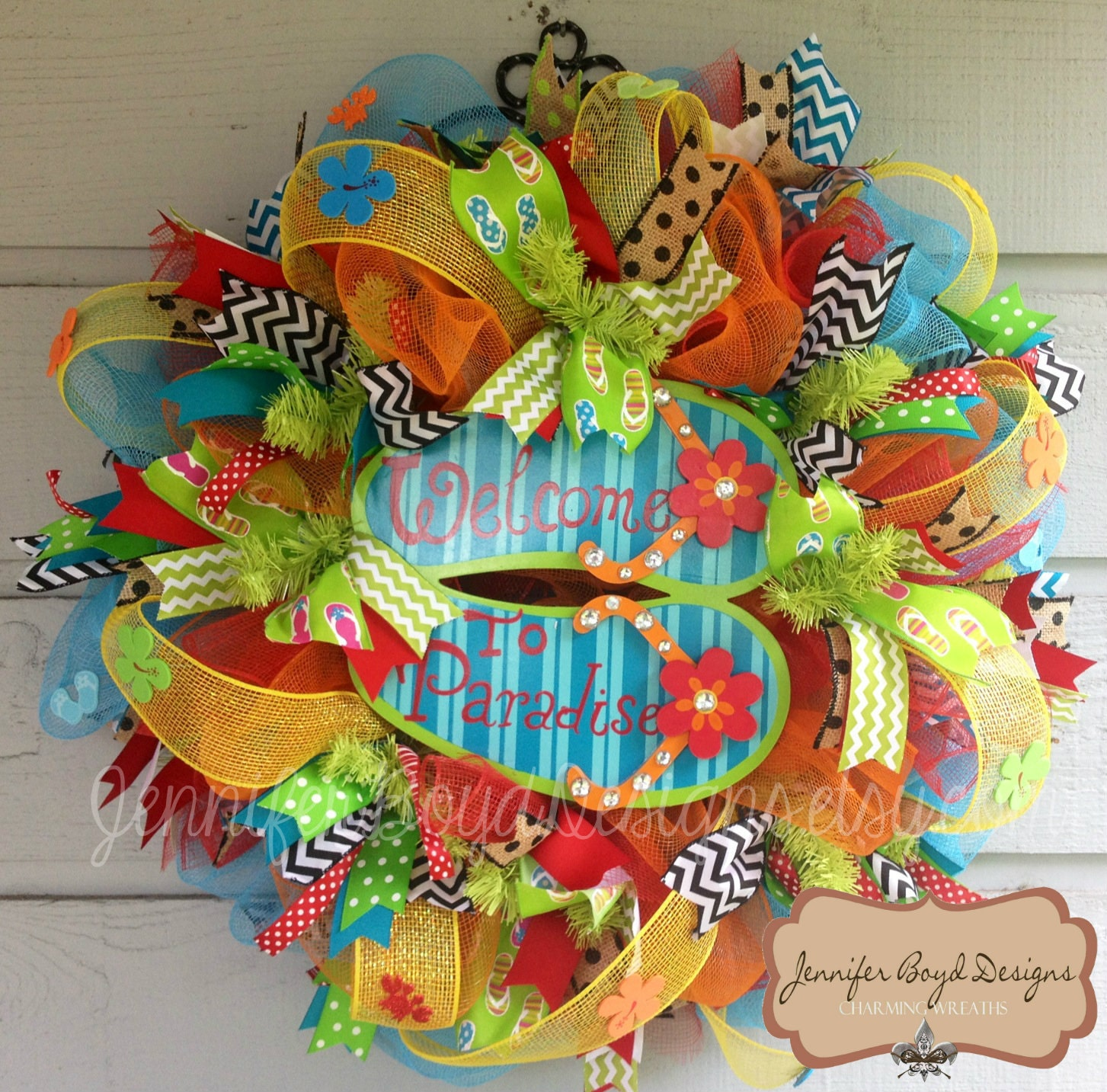 Flip Flop Welcome To Paradise Deco Mesh Wreath Perfect For