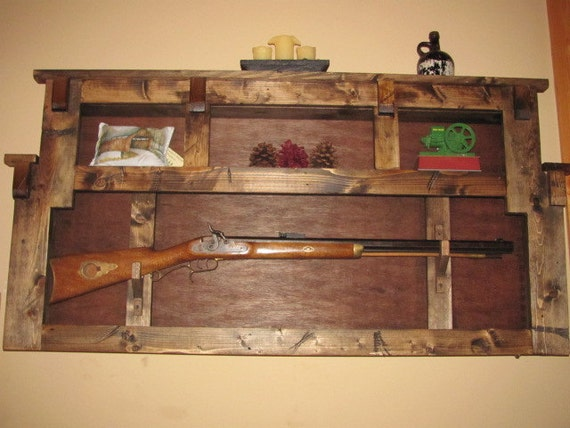 Items similar to rustic gun rack plate display wall shelf on etsy