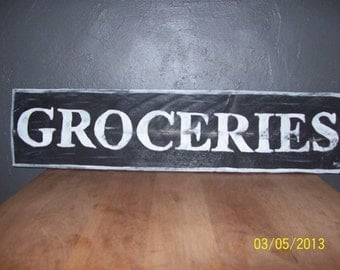 Hand painted Groceries sign/ kitchen sign/groceries sign/ hand painted sign/distressed sign/reclaimed sign