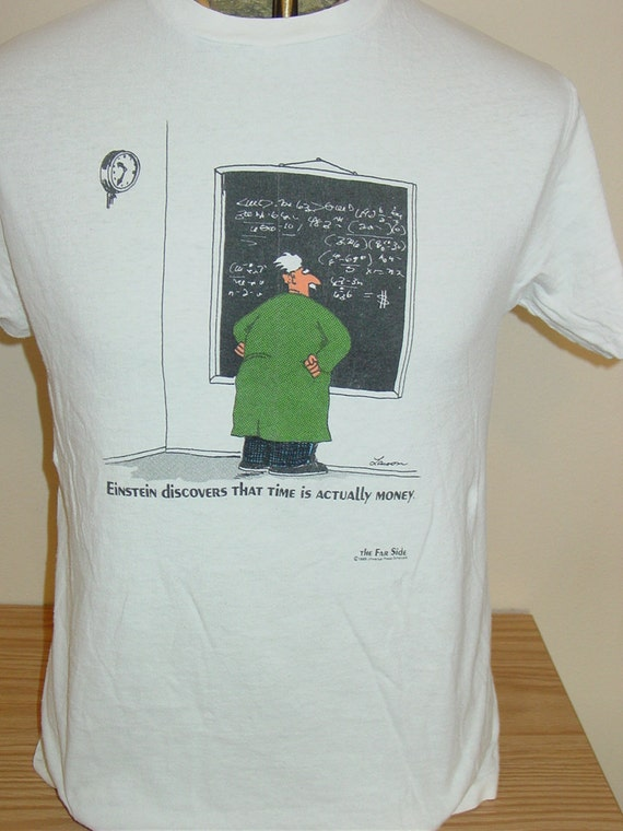 Vintage The Far Side Cartoon T Shirt Einstein By