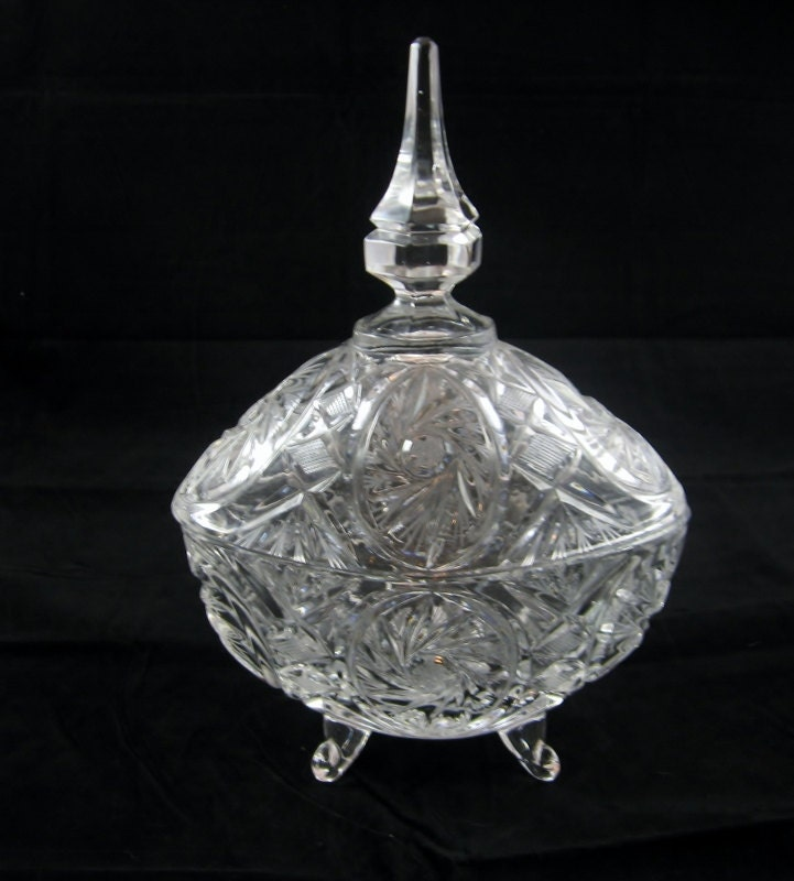 Vintage Lead Crystal Footed Candy Dish Germany By