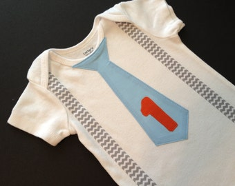 Birthday Chevron Baby Boy Tie bodysuit or T-shirt with suspenders-  First Birthday Boy Outfit
