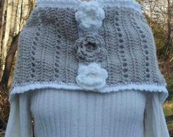 Crochet Cowl Linen Rose