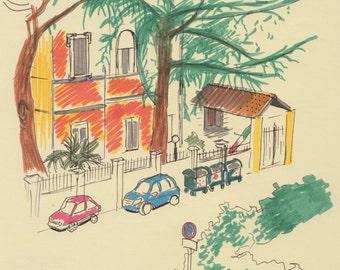 Travel Sketch: Outside Rome (Via Cervino)