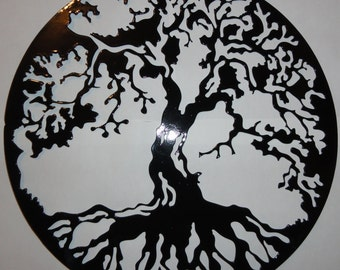 Tree of Life Metal Wall Art Home Decor Gloss Black