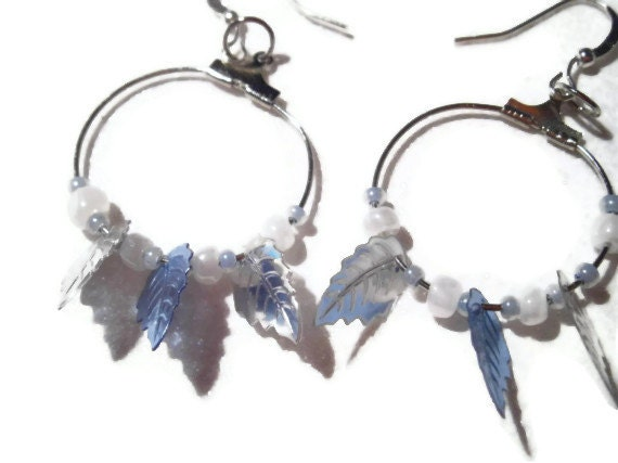 Frosty Blue Leaf Hoop Earrings with Light Blue and White Seed Beads, Nickle Free