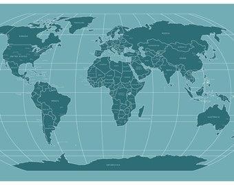 Modern World Map Etsy - Modern world map