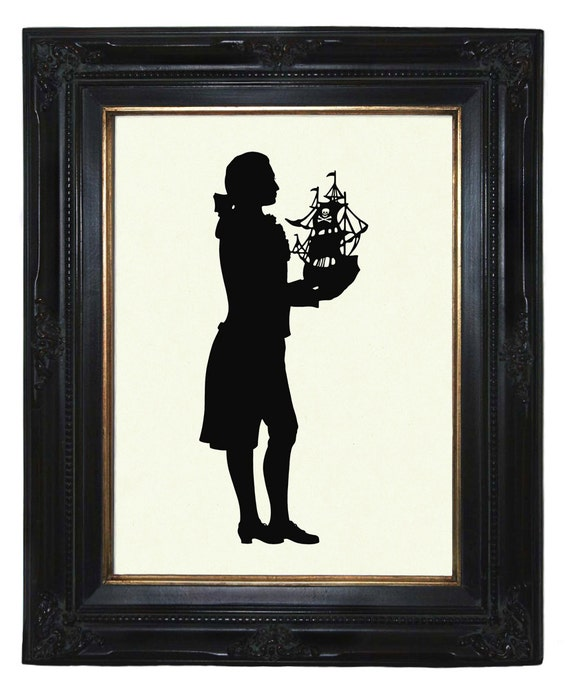 Silhouette Gentleman with Pirate Ship Nautical Victorian Steampunk art print