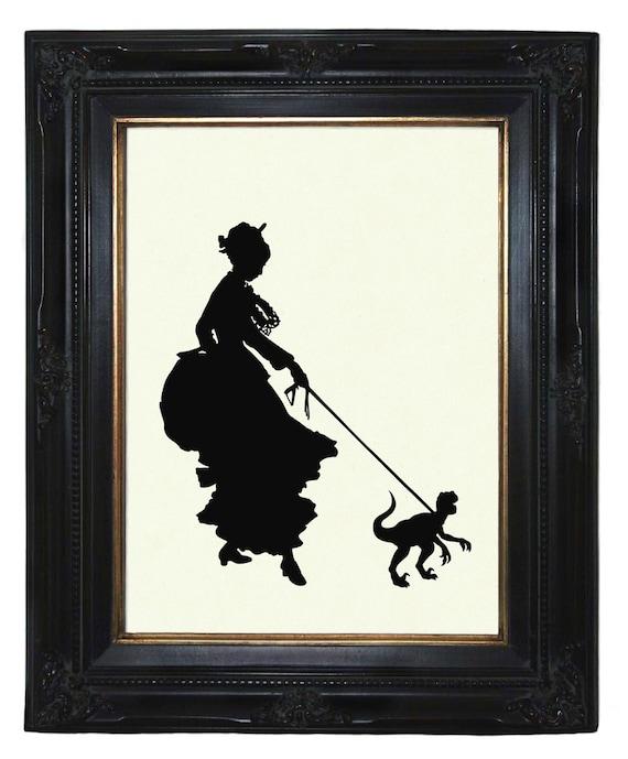 Silhouette Girl Lady with her Pet Dinosaur Raptor Velociraptor Victorian Steampunk art print
