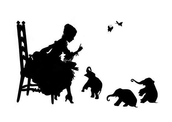 Silhouette Girl reading to Elephant Babies art print SMALL Victorian Steampunk