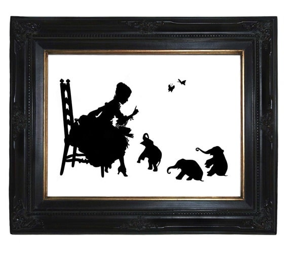 Silhouette Girl reads to Baby Elephants Victorian Steampunk art print