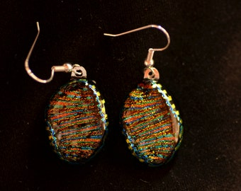 Multicolor Dichroic Fused Glass Drop Earrings