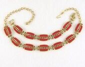c1960 Deco RED BUMPY Thermo Plastic RUBY Rhinestone Necklace/Bracelet Set