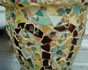 LARGE PLANTER Handmade MOSAIC Pot / Tuscany Style / Outdoor/ Indoor