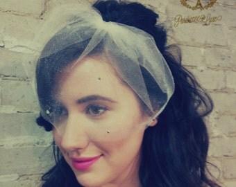 MARIE SMALL w/ RHINESTONES Allover- birdcage veil, bird cage veil, blusher veil, small blusher, tulle bridal birdcage, small bridal birdcage