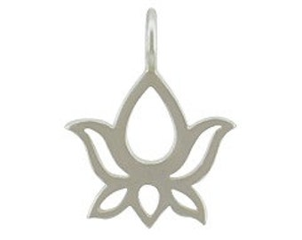 Sterling silver lotus blossom charm for jewelry NDSS5