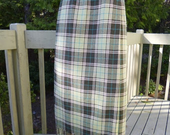 Vintage 80s EVAN PICONE Wrap SKIRT, Plaid, Brown/Green