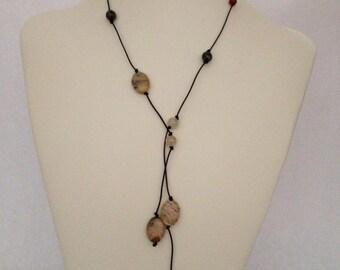 5 feet long leather lariat necklace or bracelet with gemstone beads, carnelian, quartz, jade, petrified wood beads