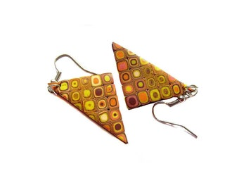Polymer clay earrings Spring earrings Triangle earrings Dangle earrings Yellow earrings Brown Casual earrings Boho earrings Rustic earrings