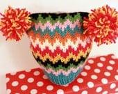 ELODIE: Handknit baby hat, 6 month size, chevron stripes, pom-pom