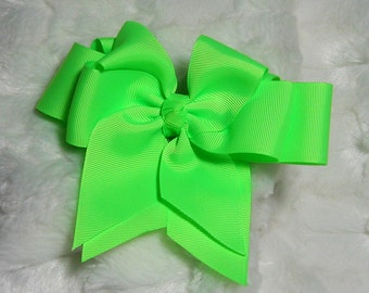 Solid Key Lime Neon Girls 5 inch Double Hair Bow