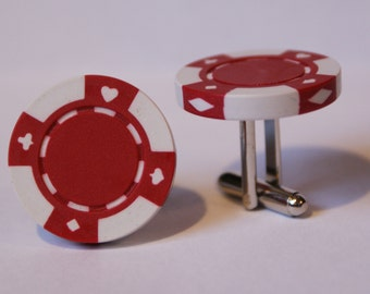 Red Poker Chip Cufflinks Free gift bag