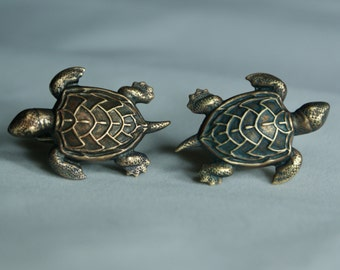 Brass Turtle Cufflinks Free Gift Bag