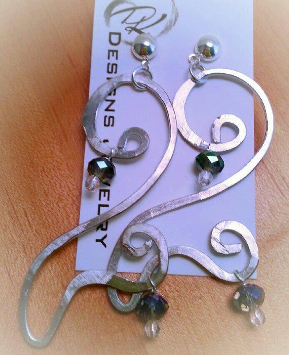 Silver forged metal earrings with Swarovski crystal beads