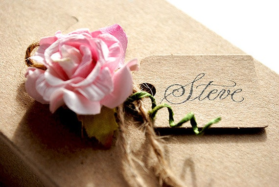 Rustic wedding gift boxes with a pink paper rose (pack 10)