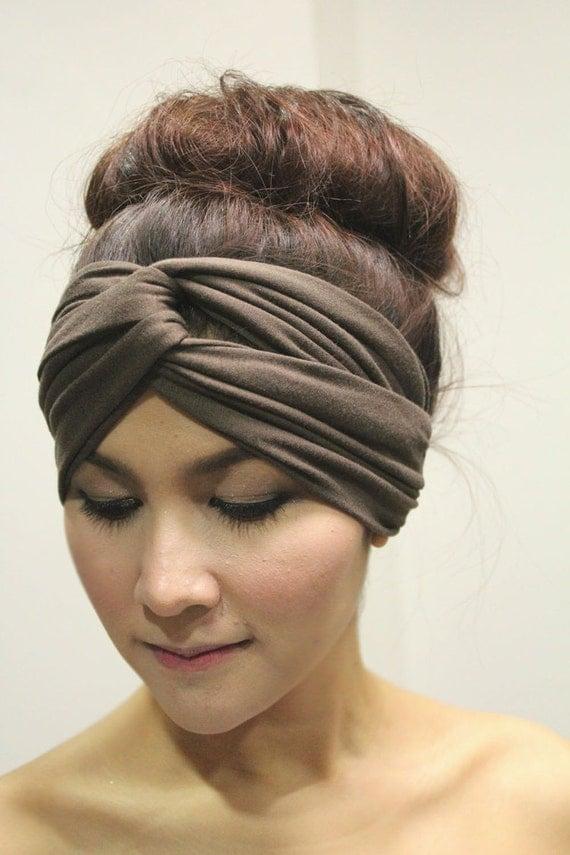 Twist Turban Headband, Tribal Fashion Head wrap, Elastic,Dark Brown Plain Color Style