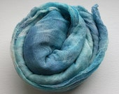 Cotton scrim hand dyed in turquoise to sky blue