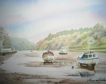 Lerryn, near Fowey, Cornwall, U.K. watercolour painting.