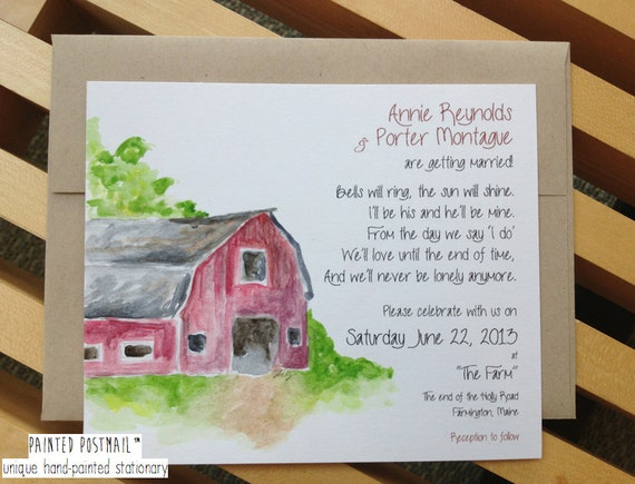 items similar to rustic barn wedding invitations // farm wedding, Wedding invitations
