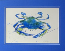 Blue crab with blue mat