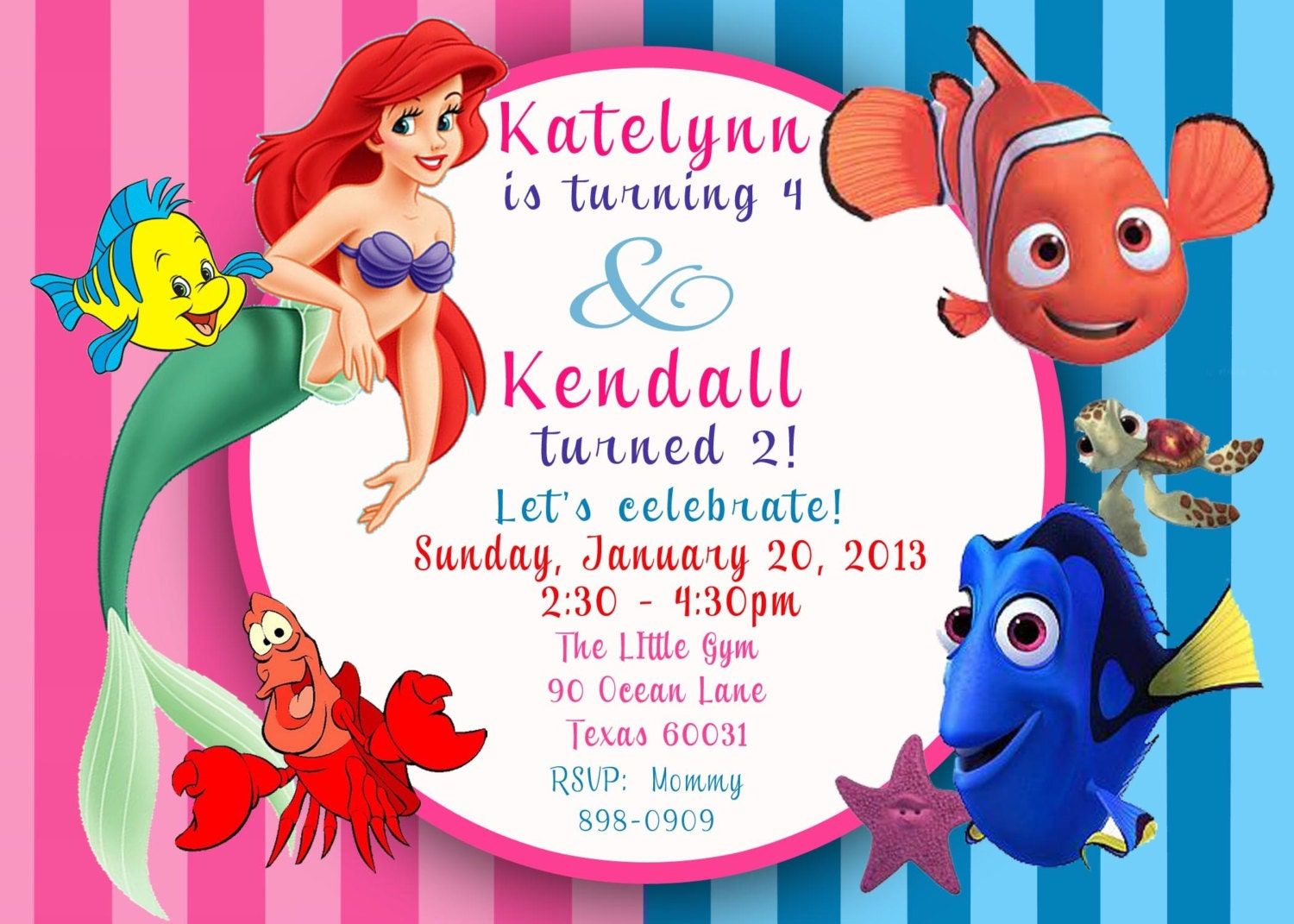 CUSTOM PHOTO Invitation Ariel The Little Mermaid & Finding