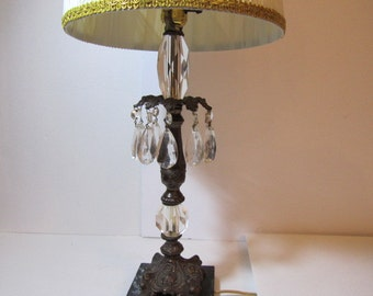Vintage lamp with hanging crystals, glass & brass lamp, victorian lamp, crystals