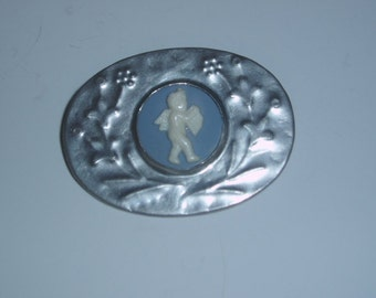 Cupid Angel Pin Wedgewood Type Blue White Plastic Cameo