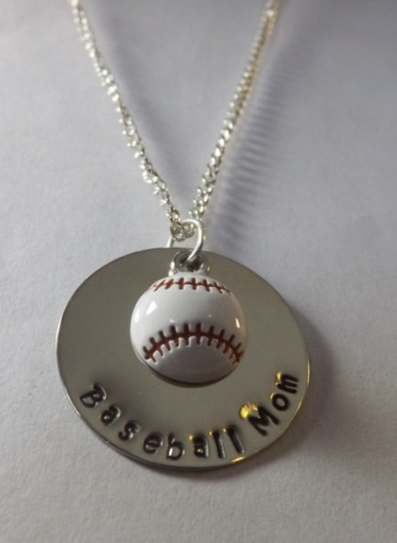 Baseball Mom Hand Stamped Necklace