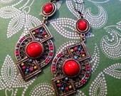 Stunning red Egyptian revival Art Deco earrings Vintage Boho Clip on or pierced