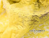 YELLOW Stretch Lace Fabric Wedding Bridal Lace Curtain Tulle Sheer Stretch Lace Fabric by the Yard - 1 Yard 104 Lace