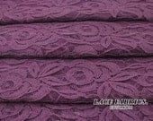 PLUM Purple Cotton Lace Fabric by the Yard Wedding Bridal Craft Lace Material Cotton Plum Purple Lace Fabrics - 1 Yard Style 231