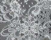 Mistique Vintage Off White Lace Fabric by the Yard Table Runner, Curtain, Pillow, Wedding Lace Fabrics - 1 Yard Style 238